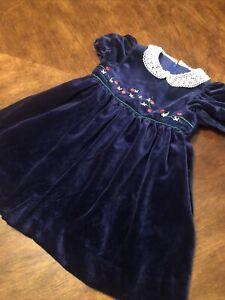 Florence Eiseman Toddler Girls  Blue Velvet Collared Holiday Photos Dress Sz 18M