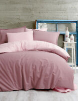 VHD - Reversible Pink Gingham %100 Cotton Duvet Cover Set Soft Hypoallergenic