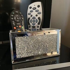 Loose Diamanté Mirror Makeup Remote Organiser Holder Jewel Mirror Beauty Box New