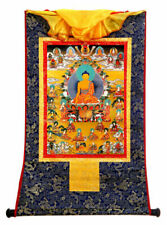 24inch Brocade Wood Scroll Tibet Buddhism Thangka Sakyamuni Disciple - 18 Arhats