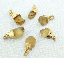 Charms Natural Raw Yellow Citrine Gold Silver Rose Gold Plated Pendant Jewelry