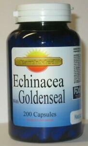 Echinacea + Goldenseal 900mg Powerful Herbal Immunity 200 Capsules  Expires 2024