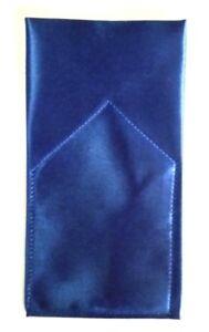POCKET SQUARE Royal Blue Satin  Flat Top - folded & sewn - Just slips in pocket