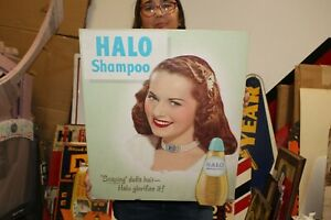 "Vintage 1950's Halo Ladies Shampoo Hair Salon Barber Shop 20"" Sign"