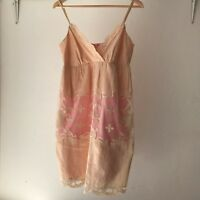 Wish Strappy Lace Hem Silk Dress In Peach, Size 12