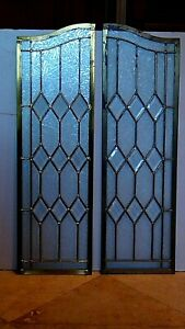 PAIR ANTIQUE LEADED BEVELED FROSTED GLASS WINDOWS OR DOORS W/BRASS GOLD PATTERN