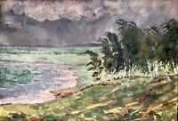 painting thunderstorm landscape socialist realism vintage socrelizm Shuvaev