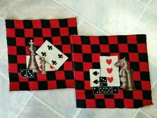 """Completed 12"""" Square Red & Black Checkered Gambling Gameboard Needlepoint pieces"""