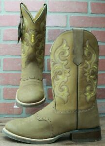 Western Cowboy Boots OLD WEST Tan Brown Round Toe 5705 Size 8 EE