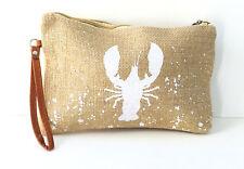 Lobster Print Burlap Clutch Wrist Wallet Makeup Accessory Bag