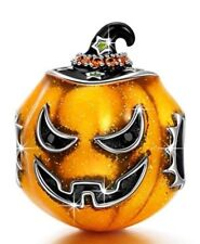 Sterling Silver Halloween Witch Hat Pumpkin European Charm for Pandöra Bracelet