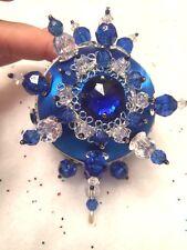 Cobalt Silver Sapphire Blue Elegant Gem Stone Handmade Christmas Tree Ornament ~