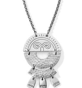 NWT Brighton MARRAKESH SOLEIL ROUND Silver Dangle Pendant Necklace MSRP $62