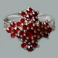 Size 6, 7.25, 8, 9, Bohemian Rose-Cut Garnet Sterling Silver Ring # SR-057