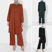 Women Long Sleeve O Neck Solid Ruffles Button Tops Wide Legged Pants Dress Suits