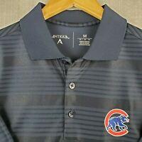 ANTIGUA x CHICAGO CUBS Size Medium Mens SHINY Blue Polo Shirt Golf Baseball