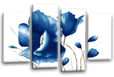 FLORAL CANVAS ART PICTURE BLUE WHITE FLOWER LOVE PAINTING 4 WALL PANELS