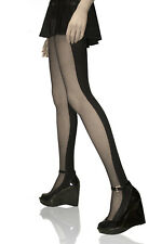 WET SEAL FASHION HALF BLACK  BLOCK OPAQUE HALF SHEER TIGHTS PANTYHOSE NEW IN BAG