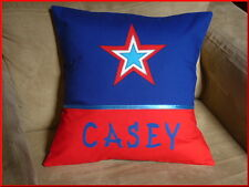 CHILD'S/BOYS PERSONALISED NAME CUSHION COVER/NURSERY/SHOWER/GIFT IDEA - STAR  -