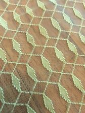 Vintage Retro Fabric Sheer Lace Yellow Green Neon 8 Yards Curtain Camper Crafts