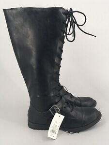Women's Magda Faux Leather Buckle Riding Boots Universal Thread Black 9 NWT
