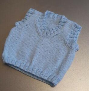 HANDMADE BABY PULLOVER VEST 6-12 MONTHS WHITE & PINK