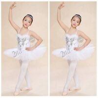 Girls Sequined Beads Swan Costume Ballet Dance Leotard Tutu Dress Fairy Outfit