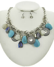 Trendy Fashionable Long Turquoise Natural Stone Beaded Bohemian Necklace