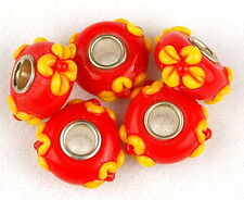 Lampwork Large Hole Charm Bead Orange Red Yellow Flower Loose Jewelry Craft