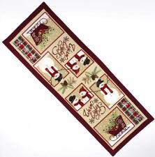 "NWT Beige Red Green Warm Wishes Snowman Sleigh Winter Table Runner 36"" Length"
