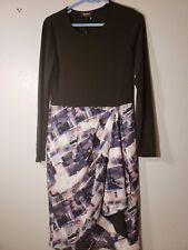 DKNY Printed-Skirt Faux-Wrap Dress BlackSapphire S