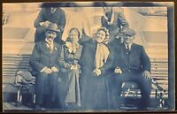 Cyanotype RPPC Real Photo Postcard~People Sitting On Bench On Deck of Ferry Boat
