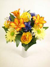 Mixed Artificial Flowers Arrangement Yellow Lily Rose Gerbera Iris Gypso Bush