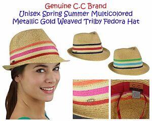 C.C Unisex Spring Summer Multicolored Metallic Gold Weaved Trilby CC Fedora Hat
