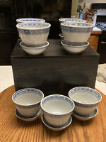 "Set of 7 Porcelain Tienshan rice flower 2"" Saki Cups And Saucers Box Set China"