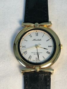 Michele Ladies Watch Black Leather Water Resistant Quartz Vintage BNWT