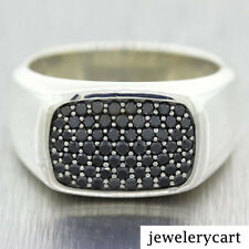 925 Sterling Silver Round Cut Black Diamond Signet Men's Ring New