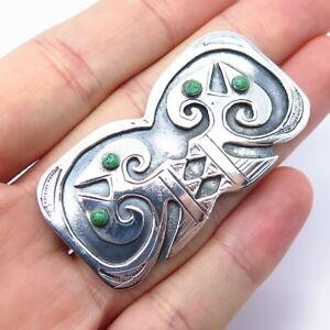 Graziella Laffi Vintage Peru 925 Sterling Silver Turquoise Aztec Pin Brooch