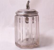 Antique German Blown Glass/Stone Cut Beer Stein Silver Lid Shooting Club c.1871