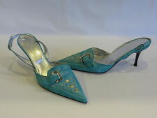 FERRETTI Turquoise Suede Pointed Toe & Metal Studs Slingback/Slides 8.5M - NEW