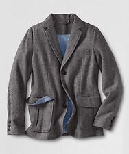 LANDS END Boy's JACKET Size: LARGE (14-16) New SHIP FREE Herringbone Blazer