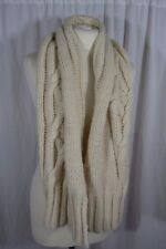 TEMPERLEY ivory chunky cable knit wool scarf
