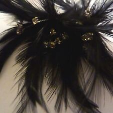 Marabout Feathers Black Diamante Bridal Craft on Covered Wire 6 Stems 18 Crystal