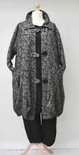 LAGENLOOK*PLUS SIZE*COLLARED BALLOON LONG JACKET**GREY/BLACK**BUST UP TO 52""