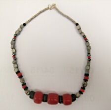 Cherry Amber & Coco Shell Mothersday Ethnic Tribal African Necklace West African