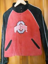 EUC Global Leather Fashions Ohio State University Jacket Wms Med Suede/Denim