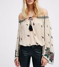 148884 NEW Free People Embroidered Embellished Off Shoulder Beige Blouse Top S