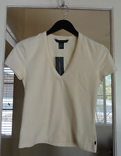 French Connection Tee Shirt V Neck Ivory Cream Large Off White New Beautiful!