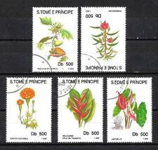 Flore - Fleurs St Thomas et prince (118) série complète de 5 timbres oblitérés
