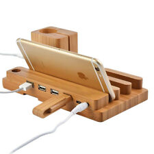 Bamboo 4-Port USB Charging Station Micro HUB Charger Holder for iWatch iPhone x